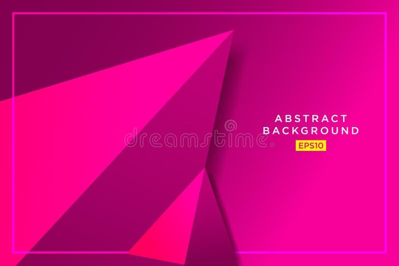 Abstrakcjonistycznego purpurowego modnisia futurystyczny graficzny tło z cieniem 3D trójboki nowoczesna tapeta Wektorowa ilustrac ilustracji