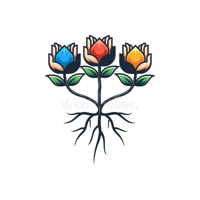 Abstrakcjonistycznego ręka kwiatu projekta ilustracyjny wektorowy szablon ilustracja wektor