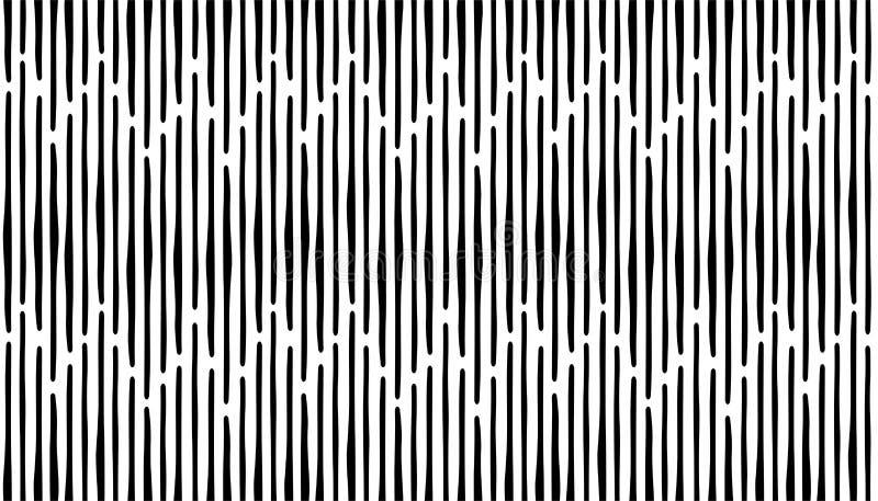 Abstrakcjonistycznego ręka remisu lampasów bezszwowy wzór Czarna pionowo linia ilustracja wektor
