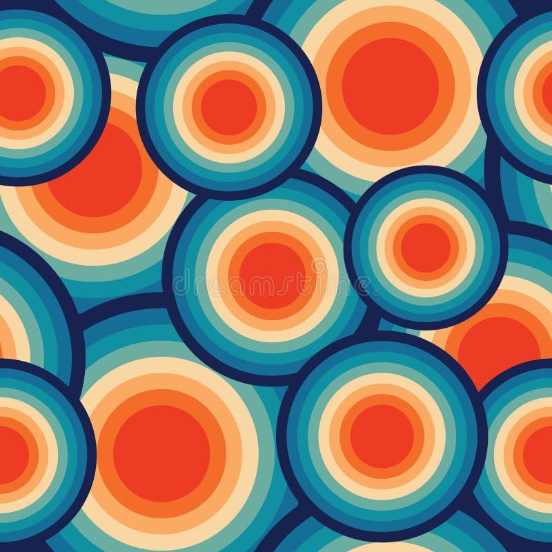 Abstrakcjonistycznego Retro Bezszwowego Backround dysków rocznika Bezszwowy Deseniowy Wielostrzałowy wzór ilustracji