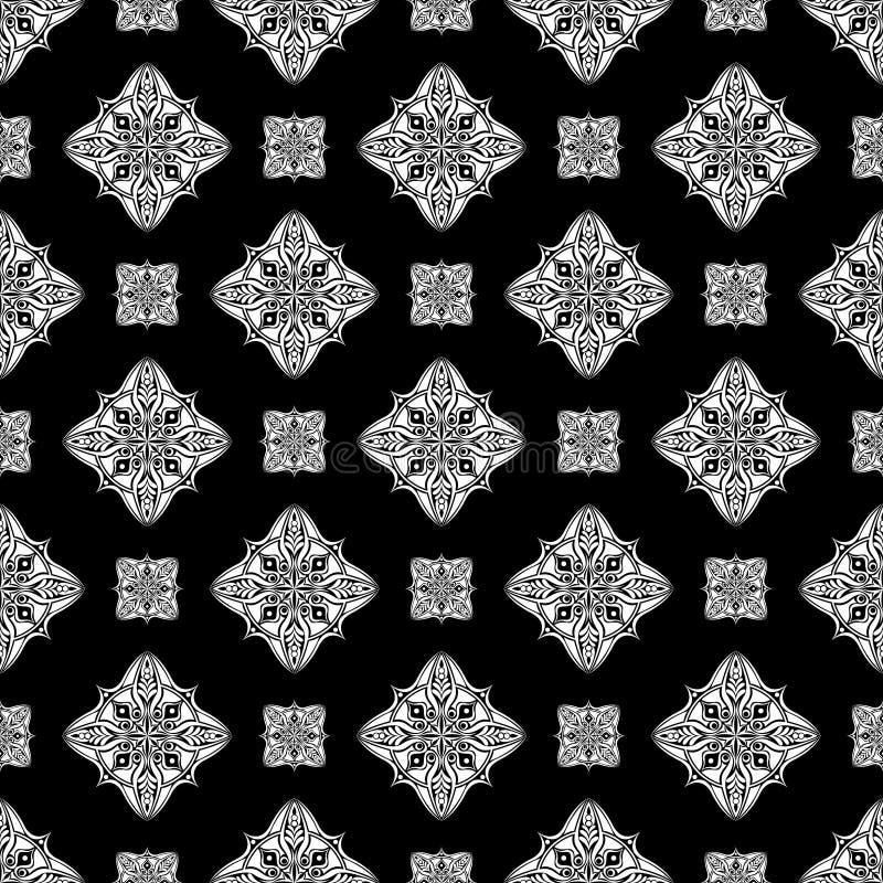 Abstrakcjonistycznego rocznik tapety chińskiego wzoru bezszwowy czarny i biały tło również zwrócić corel ilustracji wektora royalty ilustracja