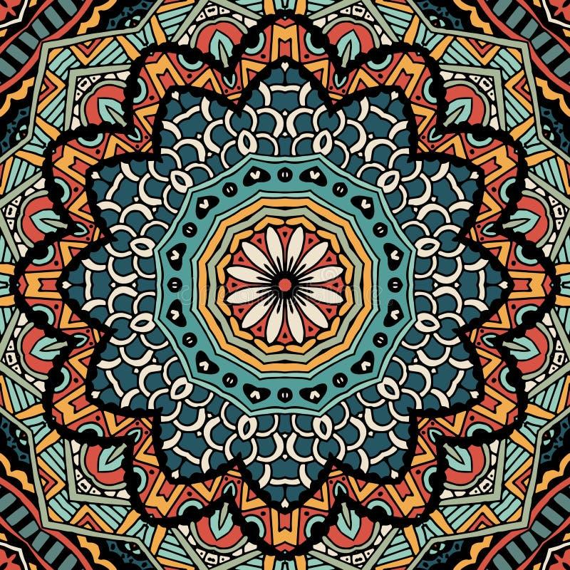 Abstrakcjonistycznego rocznika etniczny plemienny wzór ilustracja wektor