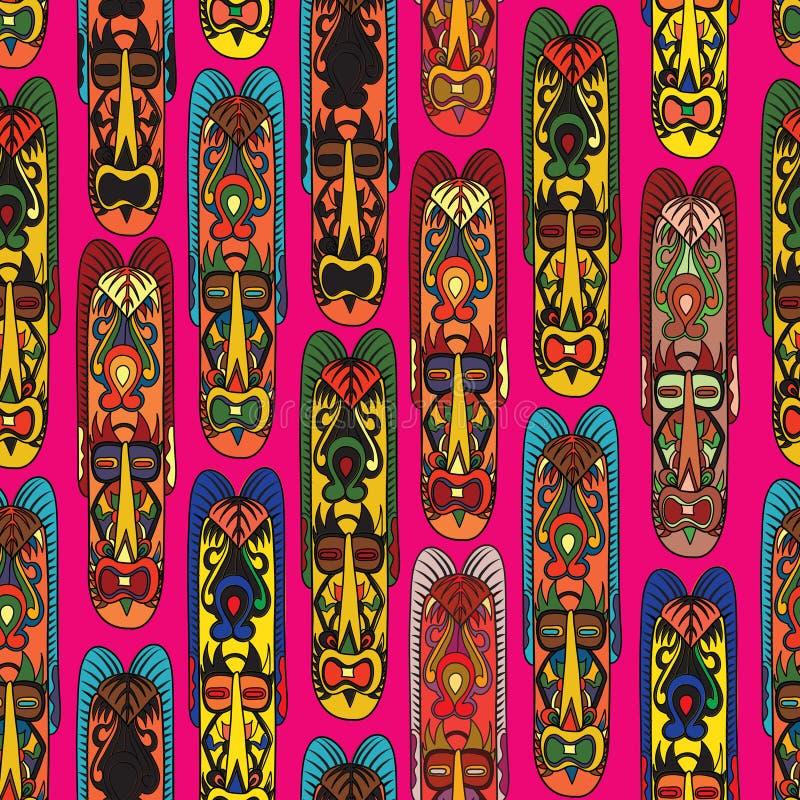 Abstrakcjonistycznego rocznika etniczny wzór Maskowy bezszwowy tło ilustracja wektor
