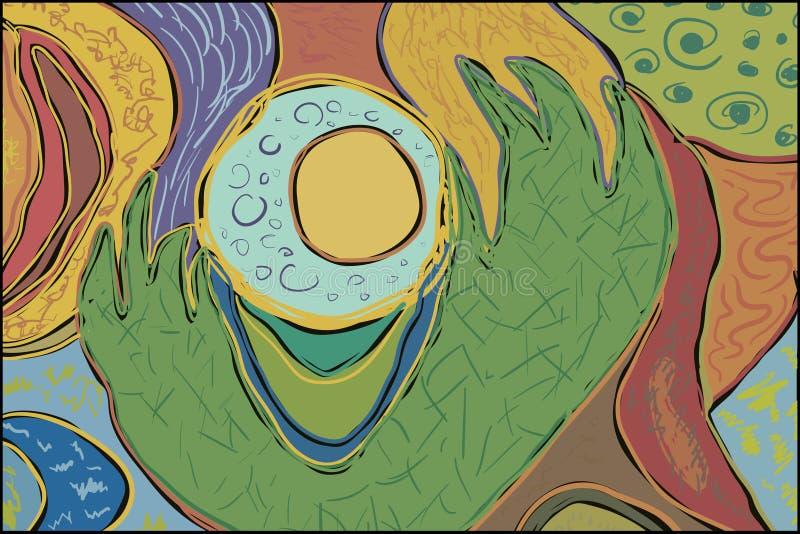 Abstrakcjonistycznego rysunkowego lata piłki zieleni jaskrawa tapeta ilustracji
