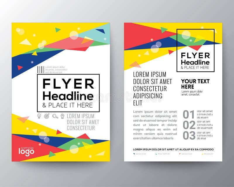 Abstrakcjonistycznego 80's trójboka stylowego kształta broszurki ulotki projekta Plakatowy układ royalty ilustracja