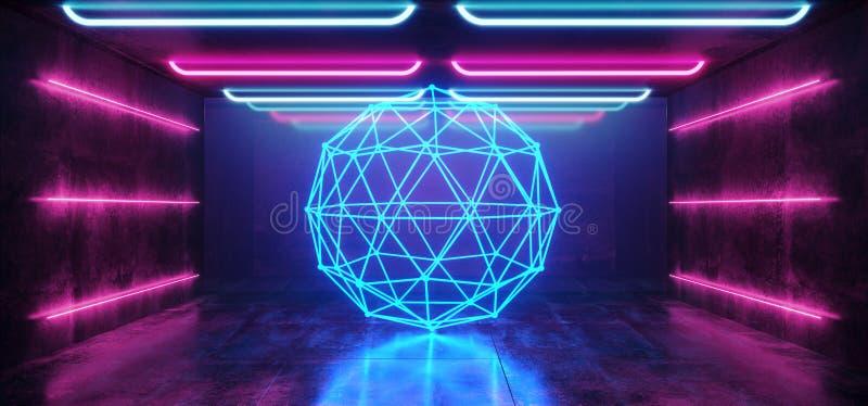 Abstrakcjonistycznego sfery tła Sci Fi statku kosmicznego Laserowego Neonowego Retro Futurystycznego Nowożytnego Glansowanego wid ilustracja wektor