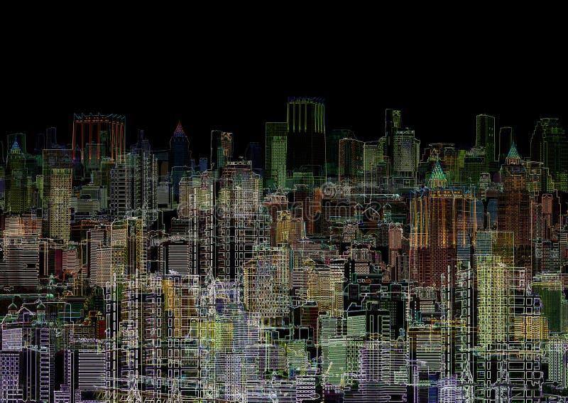 abstrakcjonistycznego składu graficzna metropolii noc ilustracji