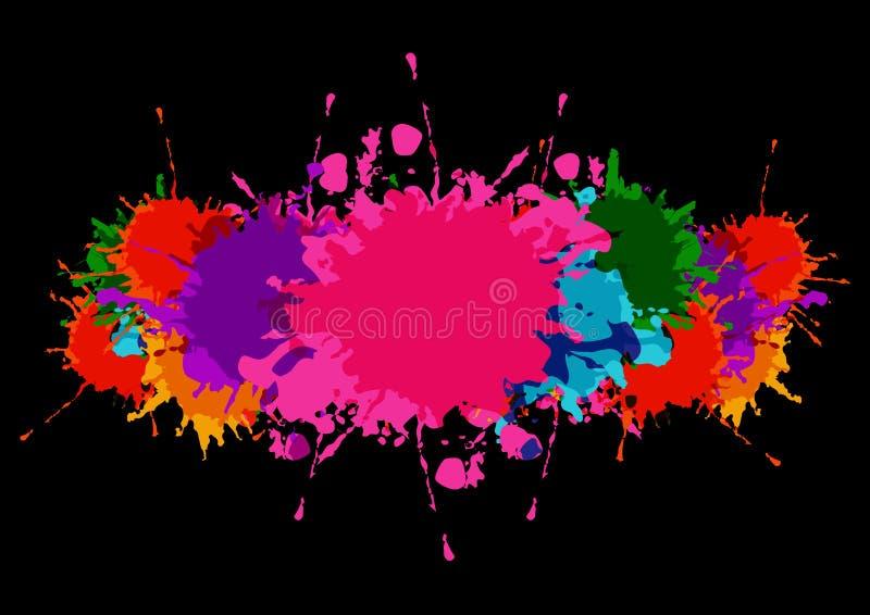 Abstrakcjonistycznego splatter kolorowy sztandar z farb plamami i splatter na czarnym koloru tle fotografia stock
