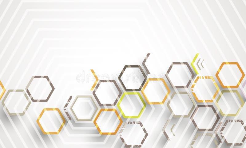 Abstrakcjonistycznego struktura obwodu sześciokąta technologii biznesu komputerowy tło ilustracji