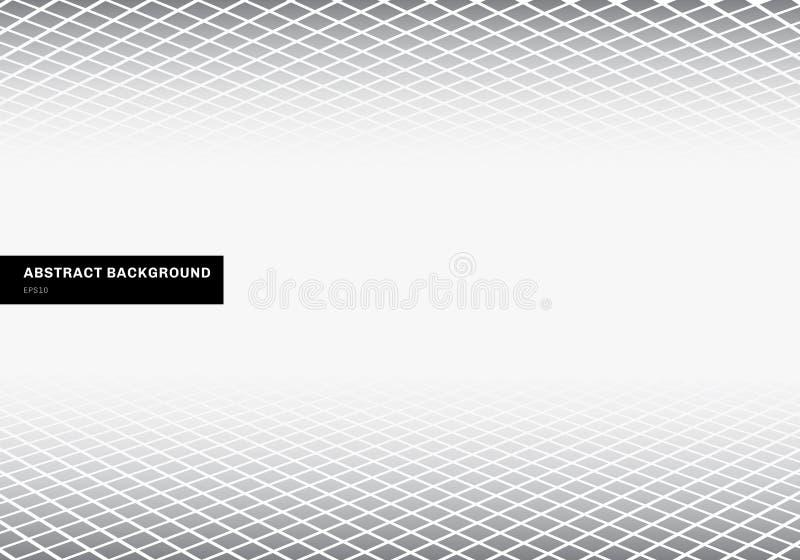 Abstrakcjonistycznego szablon szarość kwadrata wzoru perspektywiczny podłogowy biały tło z kopii przestrzenią geometryczni kształ ilustracja wektor