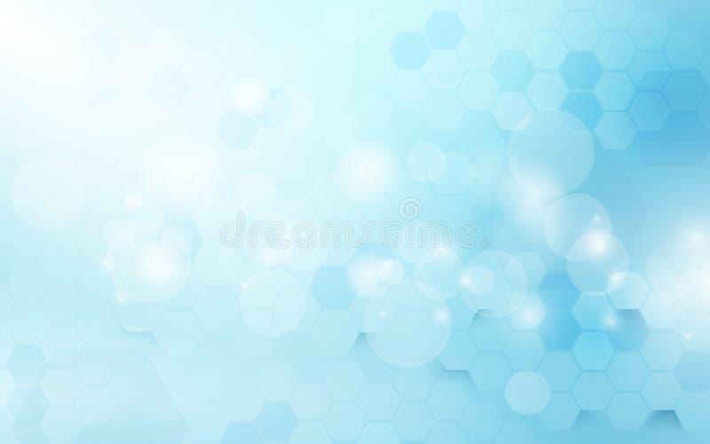Abstrakcjonistycznego sześciokąta techniki cyfrowy pojęcie na miękkim błękitnym tle cześć ilustracji