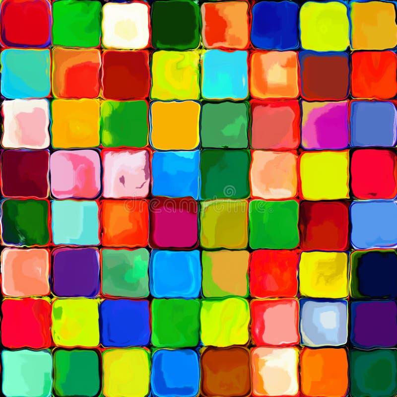 Abstrakcjonistycznego tęcz płytek kolorowego mozaic obrazu pallette wzoru geometryczny tło na ścianie 5 royalty ilustracja