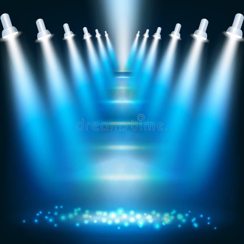 abstrakcjonistycznego tła błękitny ciemni światło reflektorów royalty ilustracja