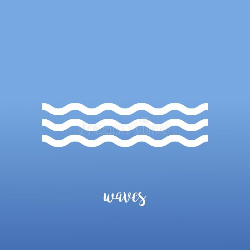 abstrakcjonistycznego tła błękitny copyspase ilustraci fala Ikony woda Morze macha ikonę Błękitny tło w fali linii wektor ilustracji