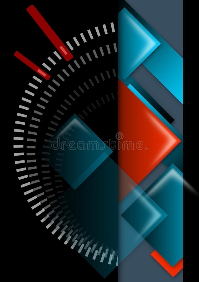 abstrakcjonistycznego tła czerń błękitny geometryczna czerwień ilustracji