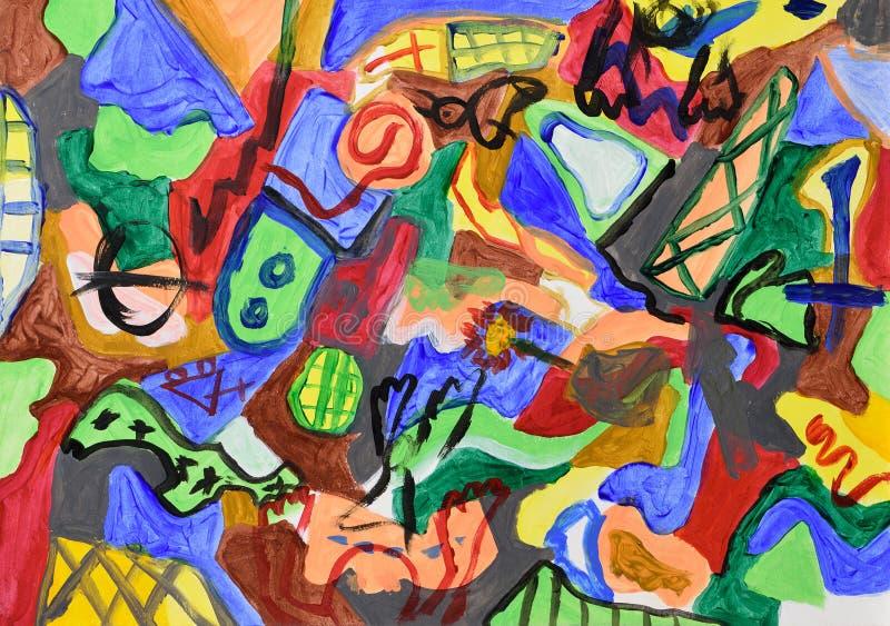 abstrakcjonistycznego tła kolorowa ręka malująca ilustracja wektor