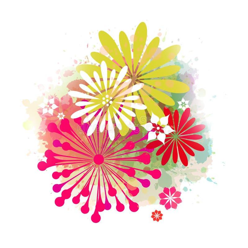abstrakcjonistycznego tła kolorowy kwiat ilustracja wektor