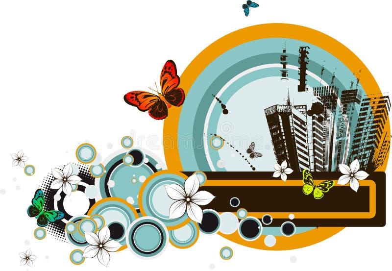 abstrakcjonistycznego tła miasta kwiecisty życie ilustracji
