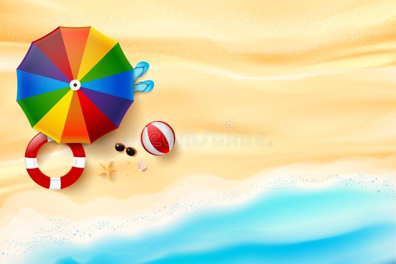 Abstrakcjonistycznego tła odgórny widok piasek i morze plażowa rozgwiazda ilustracja wektor