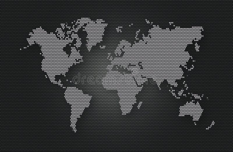Abstrakcjonistycznego tła popielata sfera z jasnopopielatą światową mapą ilustracji