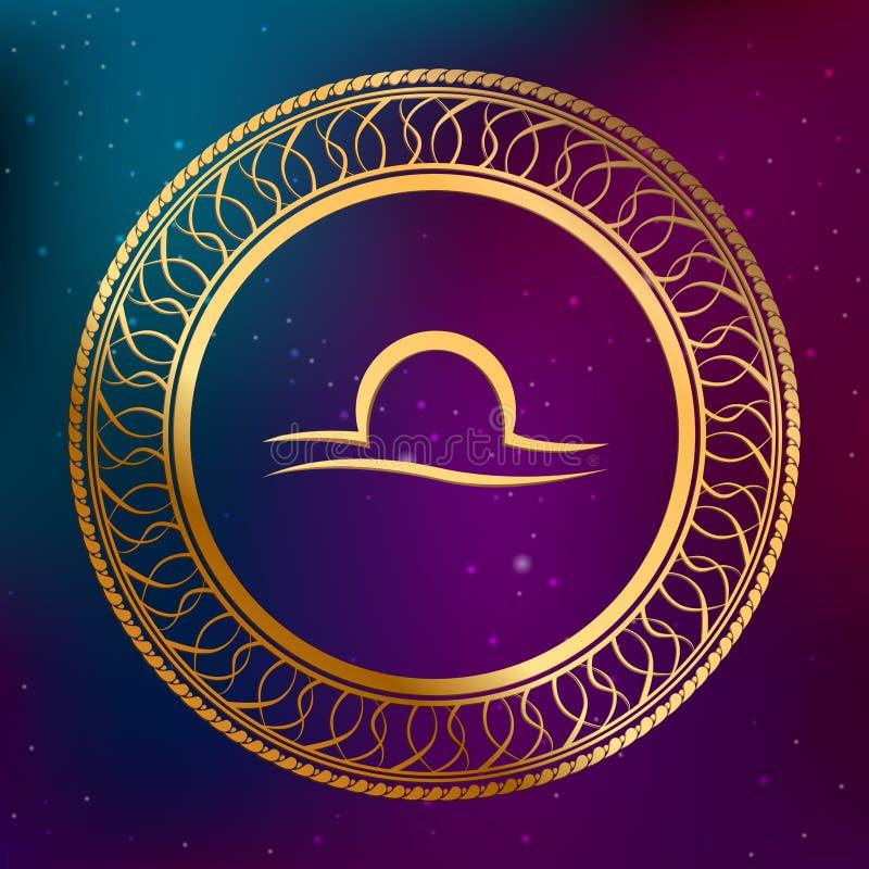 Abstrakcjonistycznego tło astrologii pojęcia horoskopu zodiaka znaka libra okręgu ramy złocista ilustracja royalty ilustracja