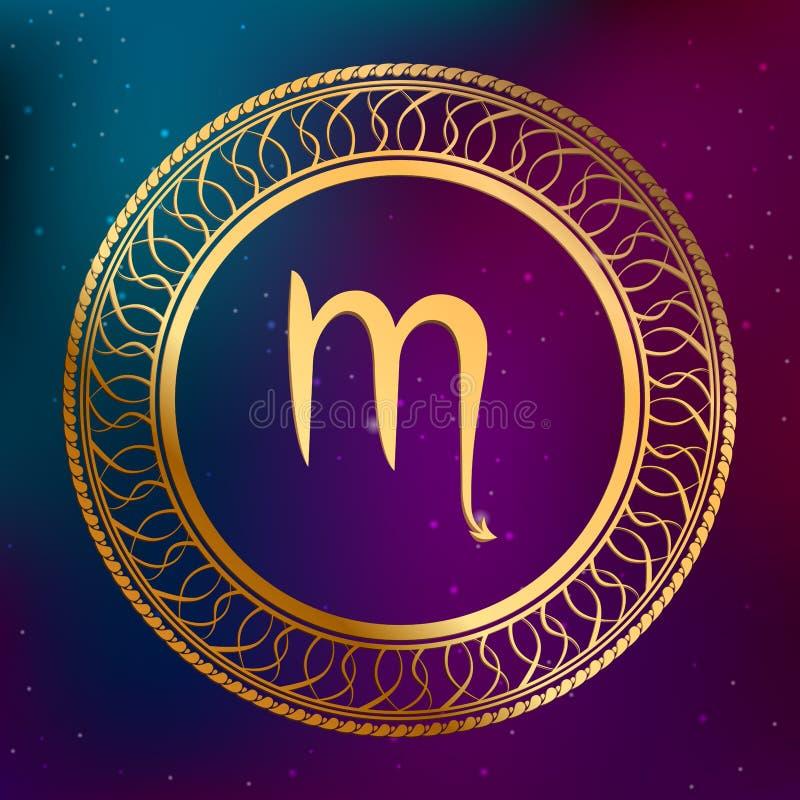 Abstrakcjonistycznego tło astrologii pojęcia horoskopu zodiaka znaka skorpionu okręgu ramy złocista ilustracja royalty ilustracja
