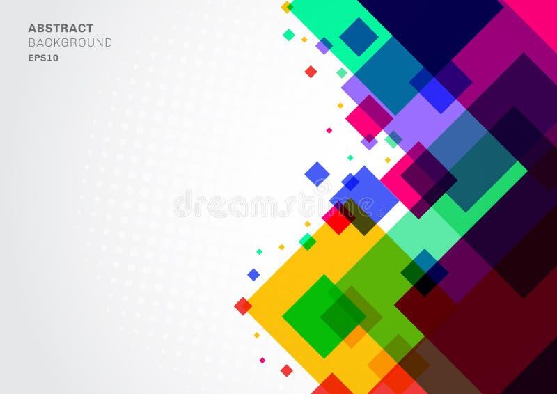 Abstrakcjonistycznego tło kolorowego geometrycznego kwadratowego szablonu nowożytni trójboki pokrywa się z biel przestrzenią dla  ilustracji