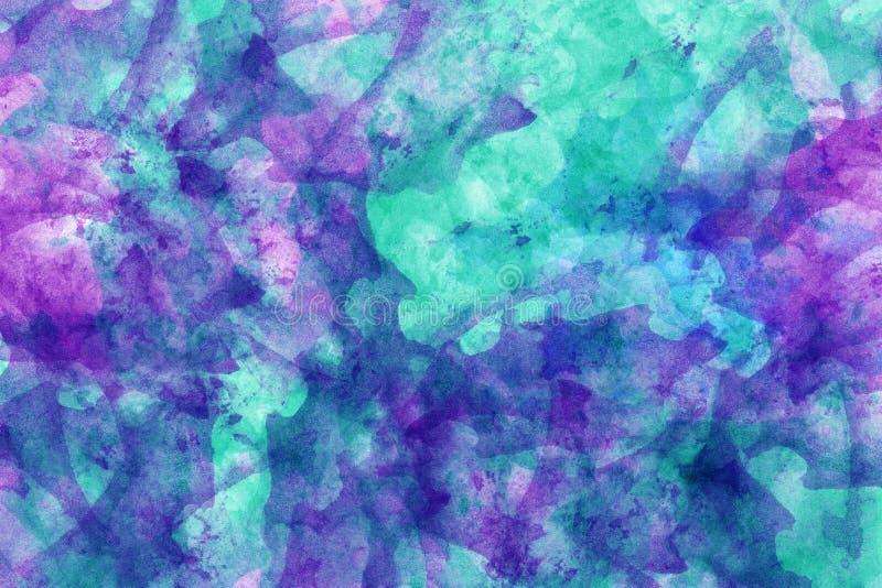 abstrakcjonistycznego t?a b??kitny purpurowa akwarela Kolorowa aquarelle farby tekstura odszukany uderzenie abstrakcjonistyczna s ilustracja wektor