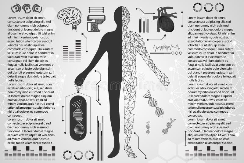 Abstrakcjonistycznego technologii nauki pojęcia ciała ludzkiego cyfrowi zdrowie ca ilustracja wektor