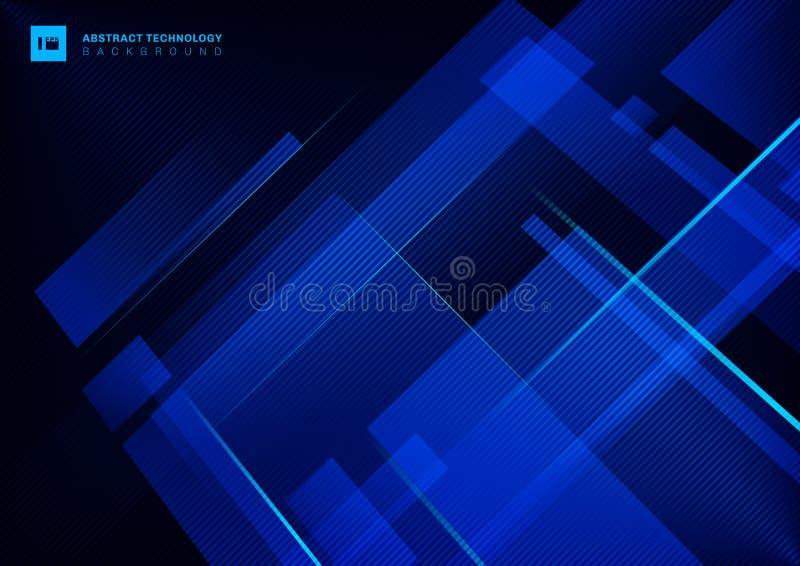 Abstrakcjonistycznego technologii pojęcia błękitny geometryczny pokrywać się z lekką laser linią na ciemnym tle royalty ilustracja