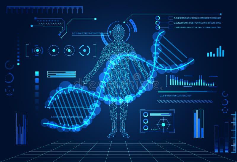 Abstrakcjonistycznego technologii ui futurystycznego pojęcia ludzki cyfrowy DNA uzdrawia ilustracja wektor