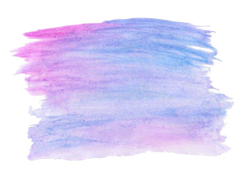 Abstrakcjonistycznego tekstury muśnięcia atramentu tła aquarel akwareli pluśnięcia ręki purpurowa farba na białym tle zdjęcia stock