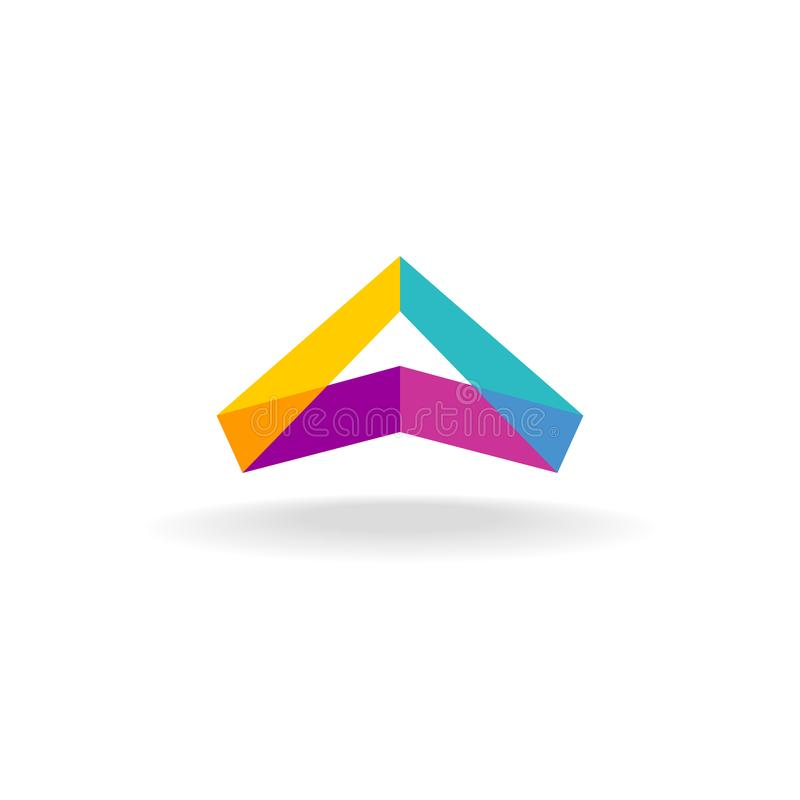 Abstrakcjonistycznego trójboka 3D kolorowego trójboka geometryczny tasiemkowy logo ilustracja wektor