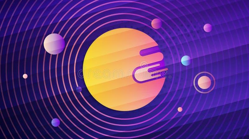Abstrakcjonistycznego układu słonecznego geometryczny gradientowy tło ilustracja wektor