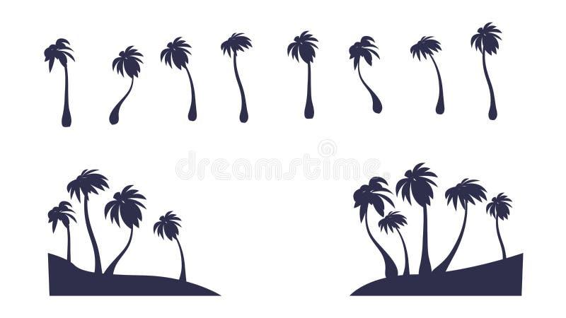 Abstrakcjonistycznego wektoru Odosobniona Palmowa sylwetka Zwrotnika drzewo Clipart ilustracji
