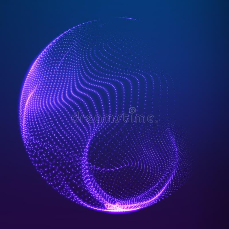 Abstrakcjonistycznego wektoru siatki zniszczone sfery Sfera łama oddzielnie w punkty Futurystyczny technologia styl royalty ilustracja