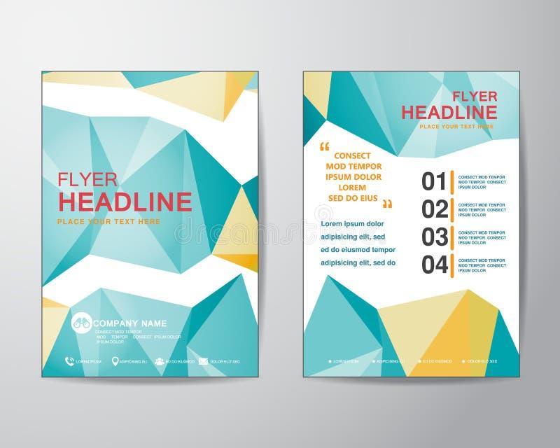 Abstrakcjonistycznego wieloboka projekta szablonu wektorowy układ dla magazynu broc ilustracja wektor