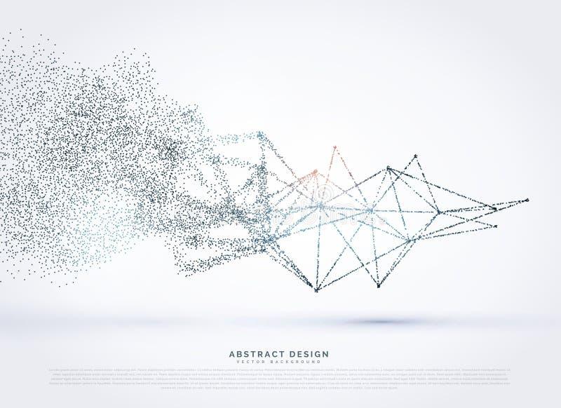 Abstrakcjonistycznego wireframe siatki sieci poli- fading w cząsteczce royalty ilustracja