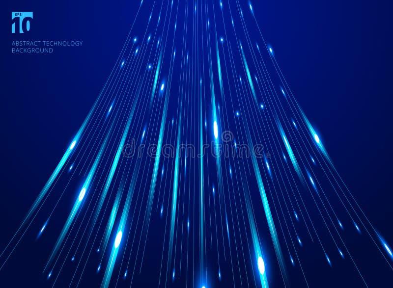 Abstrakcjonistycznego wzrost prędkości ruchu linii laserowy wzór i ruch plama na zmroku - błękitny tło technologii pojęcie ilustracja wektor