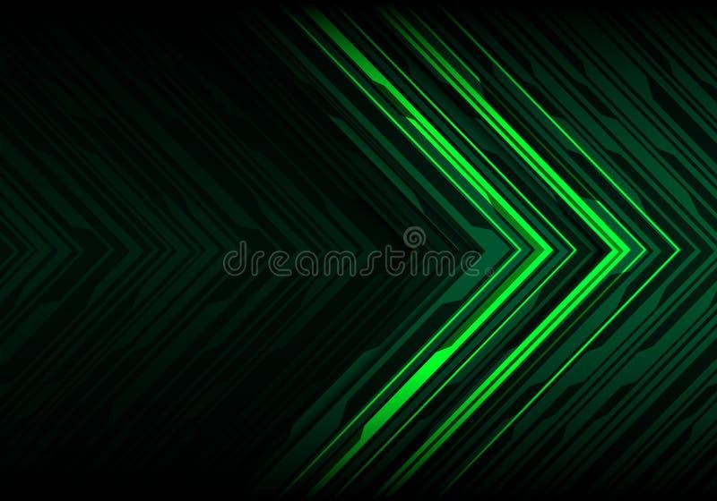 Abstrakcjonistycznego zielonego światła czerni linii wieloboka kierunku strzałkowatego futurystycznego projekta technologii tła n royalty ilustracja