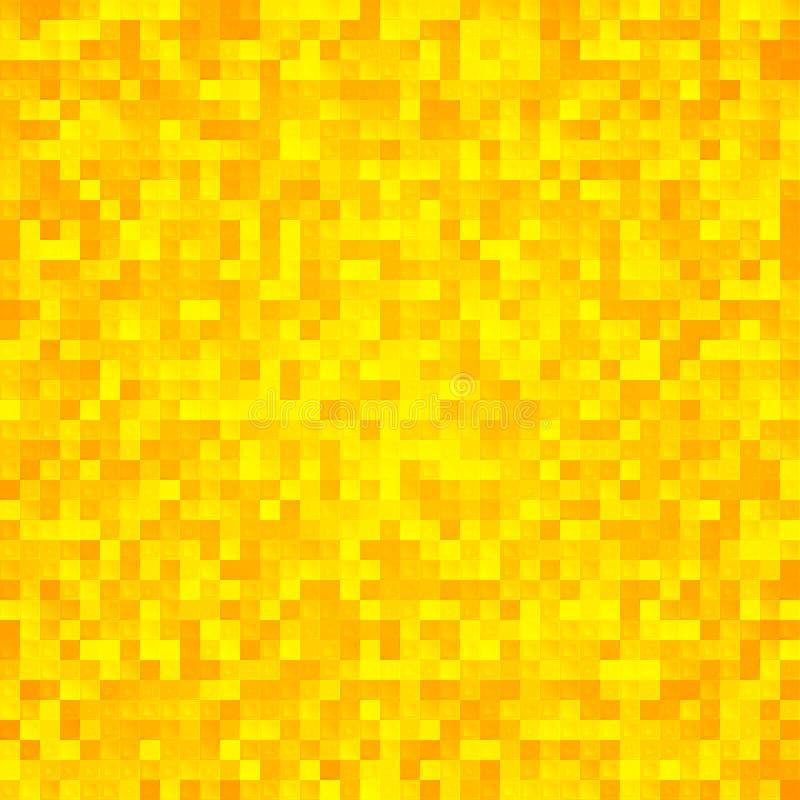 Abstrakcjonistycznej żółtej piksel mozaiki bezszwowy tło ilustracji