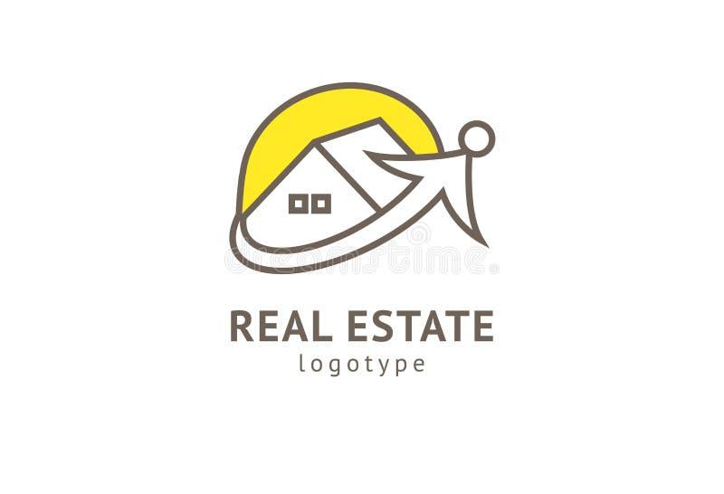 Abstrakcjonistycznej agenta nieruchomo?ci loga ikony wektorowy projekt Czynsz, sprzeda? nieruchomo?? wektorowy logo, Domowy czy?c royalty ilustracja