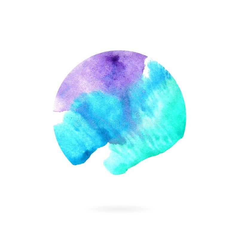 Abstrakcjonistycznej akwareli błękitny okrąg ilustracja wektor