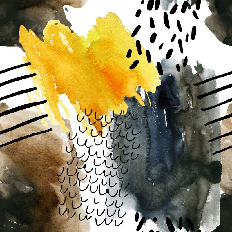 Abstrakcjonistycznej akwareli bezszwowy wzór w jesień kolorach ilustracja wektor