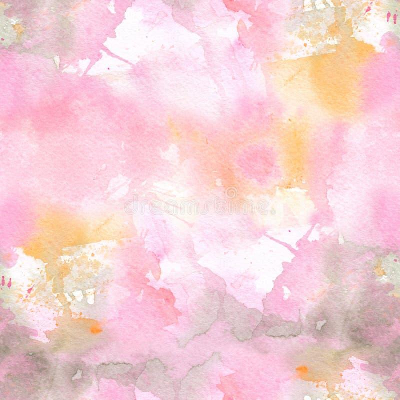 Abstrakcjonistycznej akwareli bezszwowy wzór z kolorowymi obmyciami pai ilustracja wektor