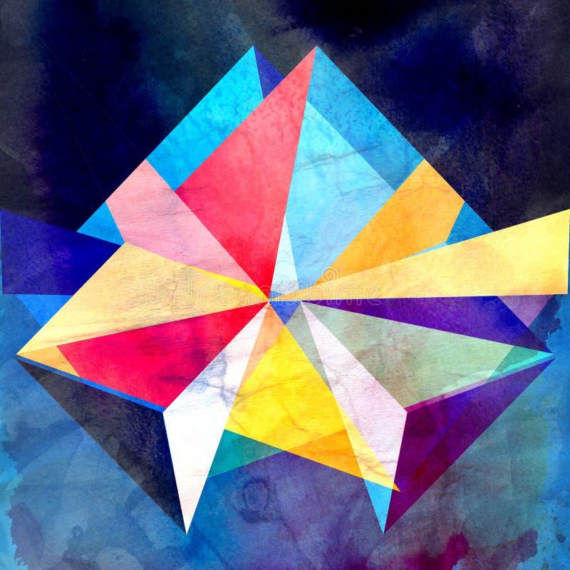 Abstrakcjonistycznej akwareli geometryczny tło royalty ilustracja