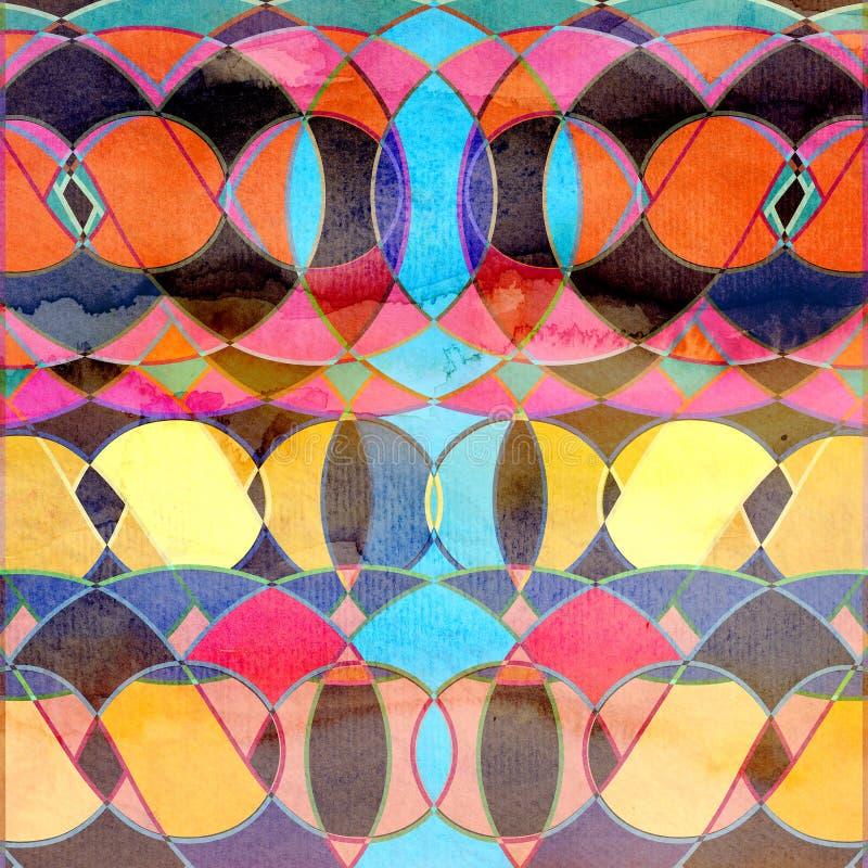 Abstrakcjonistycznej akwareli geometryczny tło ilustracji