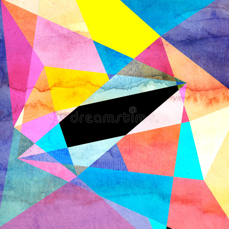 Abstrakcjonistycznej akwareli geometryczny tło ilustracja wektor
