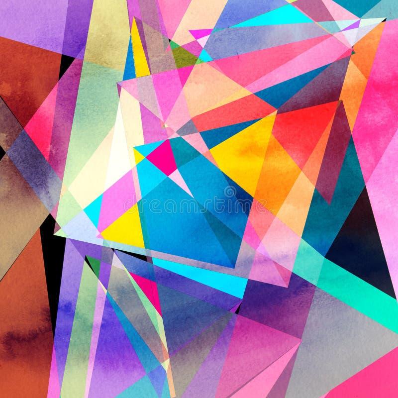 Abstrakcjonistycznej akwareli geometryczny tło zdjęcia royalty free