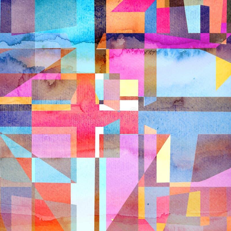 Abstrakcjonistycznej akwareli geometryczny tło zdjęcie stock